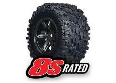 Tires & wheels, assembled, glued (X-Maxx black wheels, Maxx, TRX7772X