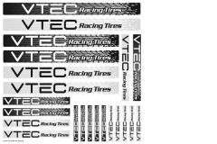 LRP Sticker sheet VTEC Racing Tires, 62414