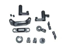 Steering assembly + servo saver + battery door block/lock, YEL12009