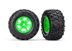 Tires & wheels, assembled, glued (X-Maxx green wheels, Maxx AT tires, foam inser, TRX7772G